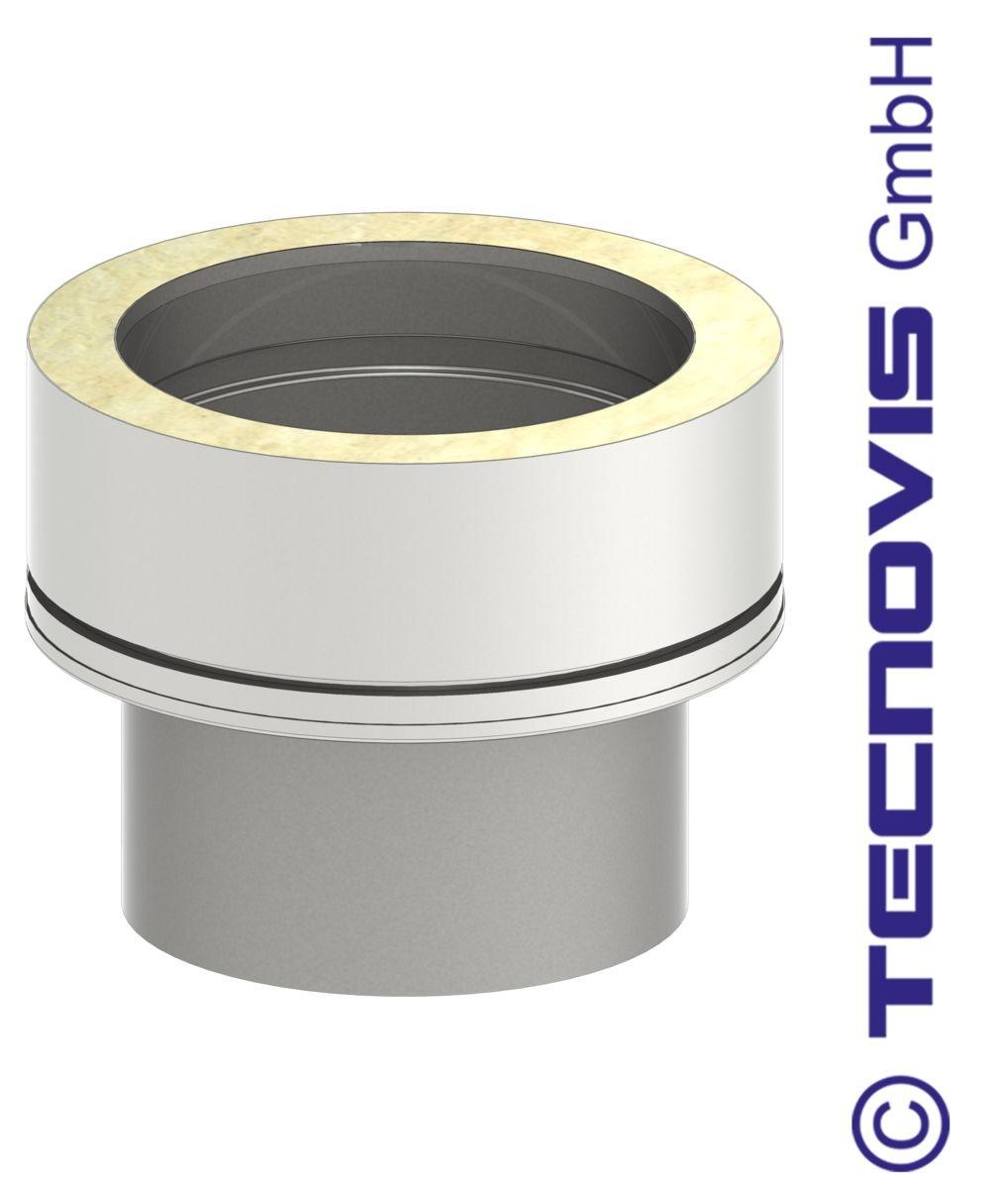 Adaptateur INOX simple - double paroi sur tubage inox