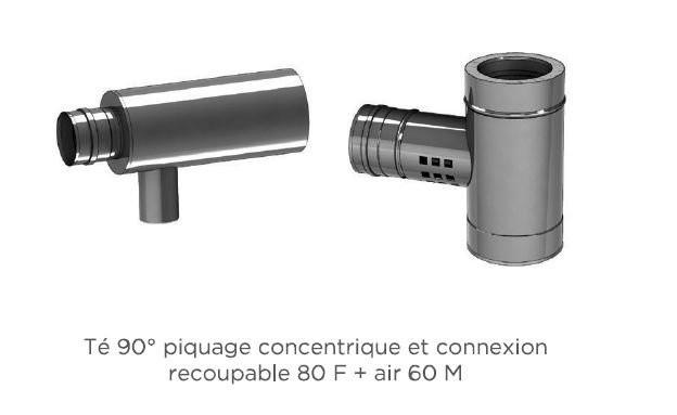 Té 90° piquage concentrique et connexion recoupable 80 F + air 60 M