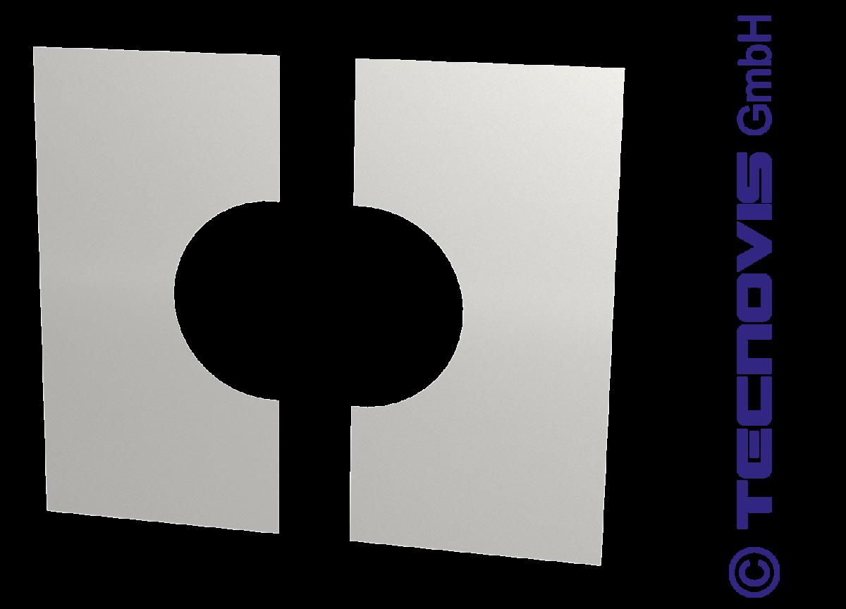Plaque de finition carrée en inox en 2 parties 0°