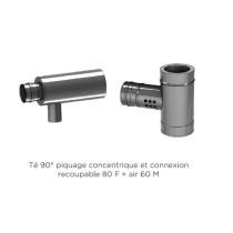 Té 90° piquage concentrique 100 mm et connexion recoupable 80 F + air 60 mm